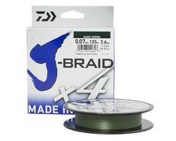 Леска плетеная J-Braid X4 135м 0,25мм green