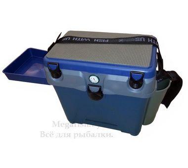Рыболовный ящик A-elita цвет сине-серый с термометром